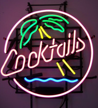 Cocktails With Palm Tree Neon Sign