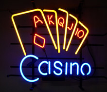 Casino With Cards Neon Sign