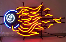 Eight Ball Flames Neon Sign