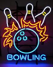 Bowling Ball & Pins Neon Sign