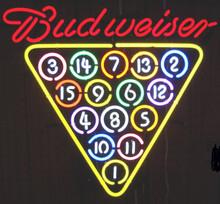 Budweiser 15 Ball Rack Neon Sign