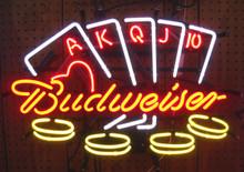 Budweiser Poker Hand  Neon Sign