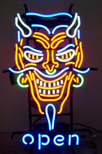 Devil Face With Open Neon Sign