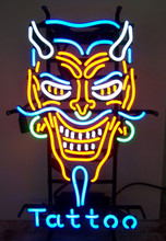 Devil Face With Tattoo Neon Sign