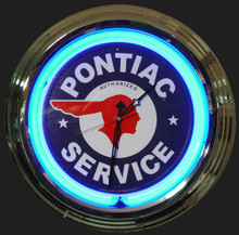 Pontiac Service Neon Clock