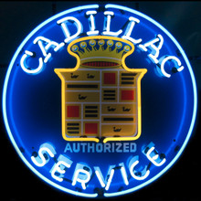 Cadillac Service Sign Complete With Neon