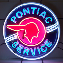 Pontiac Service Sign Complete With Neon