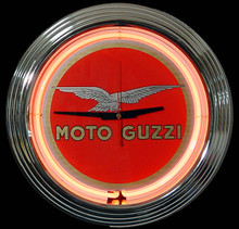 Moto Guzzi Motorcycle Neon Clock
