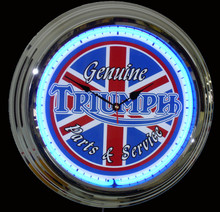 Triumph Motorcycle  Parts & Service Neon Clock