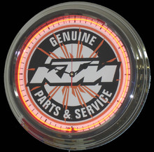 KTM Motorcycle Parts & Service Neon Clock