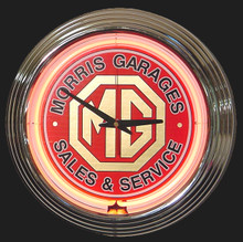 MG Sales & Service Neon Clock