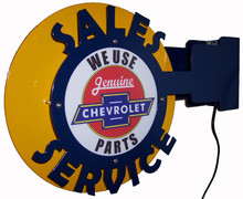 Chevrolet Sales & Service Lighted Wall Mounted Sign