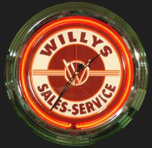 Willys Sales & Service Neon Clock