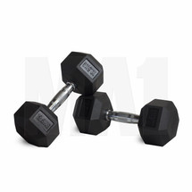 Rubber Covered Hex Dumbbell with Chrome Solid Steel Handle - 12.5kg