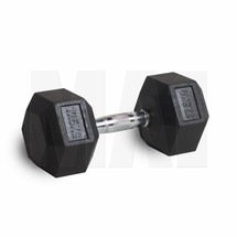 Rubber Covered Hex Dumbbell with Chrome Solid Steel Handle - 17.5kg