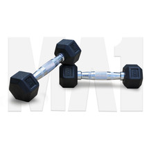 Rubber Covered Hex Dumbbell with Chrome Solid Steel Handle - 1kg - pair
