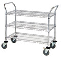 3 Tier Multipurpose Chrome Storage Cart with Dual Handles and Locking Wheels