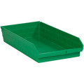 "23 5/8"" x 11 1/8"" x 4"" Green Plastic Shelf Bin Boxes"