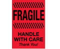 """Fragile - Handle With Care""  (Fluorescent Red) Shipping and Handling Labels"