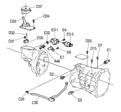 T26223296 4l60e transmission shift all also Tr 3550 furthermore Tremec T56 Back Up L  Switch E5 moreover M5r1 Transmission Parts Diagram together with Dodge 3 9 Engine Diagram. on t5 transmission exploded view