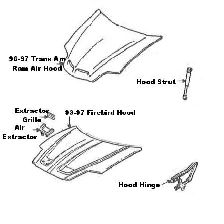Firebird NEW GM 96-97 Trans Am Ram Air Hood Scoop Screen