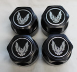 "Firebird NEW Black with Silver Bird 16"" Wheel Centers, Set of 4 (also will fit the 17"" GTA Aftermarket Wheel)"