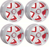 R15 Firehawk Aluminum Wheel, Red, 17 x 9.5, 82-92 Camaro Firebird, Set of 4,  New Reproduction