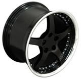 Corvette C5 Wheels Black Deep Dish With Rivets 18x9.5/18x10.5, Set of 4