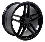 C6 Z06 Black Staggered 17x9.5 / 18x10.5 Wheels, Set of 4, Replica
