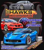 T-Shirt, Hawks Motorsports T-Shirt with Corvette, GTO, CTS-V, Black