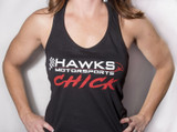 Hawks Motorsports CHICK Racerback Ladies Tank Top, Black