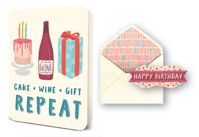 cake wine gift repeat | birthday