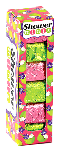island paradise shower burst minis, coconut lime scented, papaya scented, shower, bath,  fizzy, fragrance, made by hydra