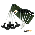 NGT Pack of 10 Bivvy Pegs in Case