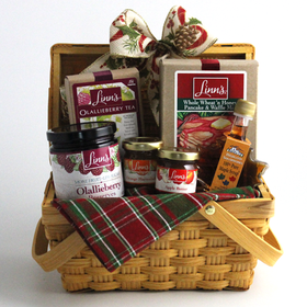 Linn's Cambria Breakfast Gift Basket Olallieberry Preserves Orange Marmalade Apple Butter Pancake Waffle Mix Maple Syrup Tea