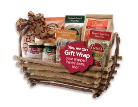 Linn's Souper Supper Gift Basket with Chili, Spinach Lentil, Split Pea Soup Mixes, Pumpkin Muffin Mix, Jalapeño Jelly, and Costini Crackers