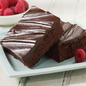 Linn's Double Fudge Chocolate Brownie Mix Fresh Raspberries Frosted Brownies Square Plate
