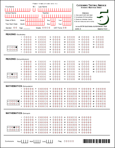Level 5 Student Response Sheet