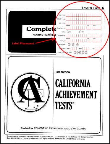 When you order computer scoring for Level 2 booklets, we will send you a label for each student, which needs to be filled out and applied in the top right corner on the front of each booklet. Use the horizontal and vertical lines on the booklet as guidelines.