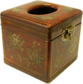 Leather Square Tissue Box Cover Red