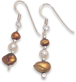 Freshwater Pearl & Silver Beads Earrings Bronze colour  4030E1