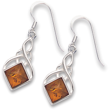 Silver Amber Plain Drop Earrings 7115AMB