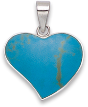 Silver Shell, reconstituted Turquoise & Onyx Pendant 8303TQ