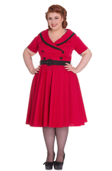 "Trash Monkey ** Hell Bunny - Mimi Dress in Red  Introducing the Mimi Dress!  Cotton polka dot dress. Self fabric collar. Black binding on the edge of the collar. Crossover at the front with 4 black cotton covered buttons to fasten. Waist seam. Black cotton covered belt. Short sleeves. Zip in the centre back seam. Circle skirt. Shown here with our 26"" petticoat which is sold separately. Available in several colours. Fabric content: 98% cotton 2% elastane. Also available in Black!"