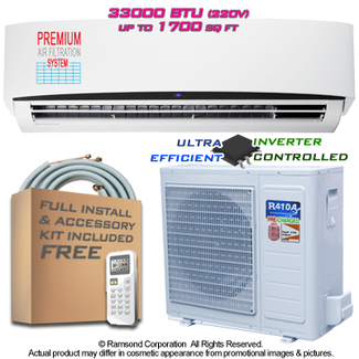 Ramsond R101GWi 33000 BTU Inverter Ductless Mini Split AC + Heat Pump