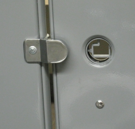 It seems that the concealed latch kit inside the door has broken and fallen either inside the door or on the ground. It probably looks something like this. & How to fix bathroom stalls with metal baked enamel doors and ...