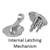 ADA Compliant Concealed Bathroom Stall Latch SET. For Flush, All American, and Global Baked Enamel Doors. Polished or Satin Finish Chrome Plated Zamac. #90L207 & #90L218