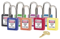 Master Lock #410 Plastic Safety Padlock SET. 8 Different Colors. Keyed Different. Labels in picture are sold separately