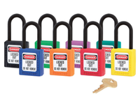 Set of 8 Master Lock #406 Safety Lockout Padlocks. Different Colors. Keyed Different