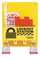 #S1720E Compact Electrical Lockout Station. Shown with #3RED Steel Padlocks. Other padlock options available
